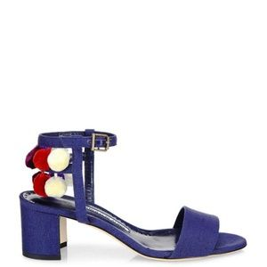 Manolo Blahnik Blue Pompom Linen Ankle Sandals